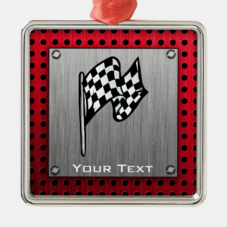 Checkered Flag; brushed aluminum look Square Metal Christmas Ornament