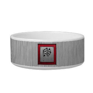 Checkered Flag; brushed aluminum look Pet Food Bowl