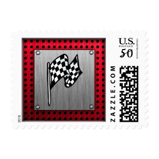 Checkered Flag; brushed aluminum look Postage