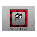 Checkered Flag; brushed aluminum look Postcard