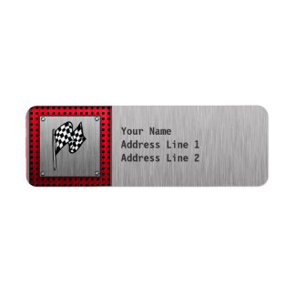 Checkered Flag; brushed aluminum look Return Address Label