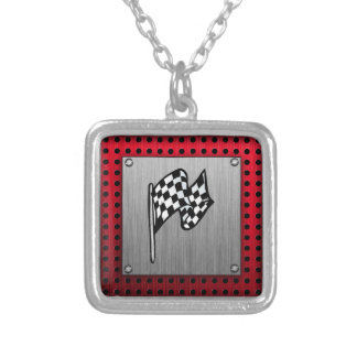 Checkered Flag; brushed aluminum look Square Pendant Necklace