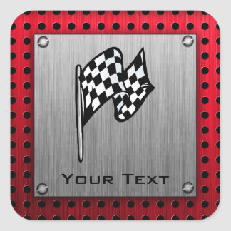 Checkered Flag; brushed aluminum look Square Sticker