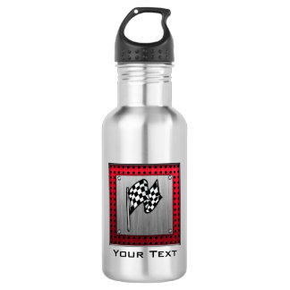 Checkered Flag; brushed aluminum look Stainless Steel Water Bottle