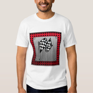 Checkered Flag; brushed aluminum look T-Shirt