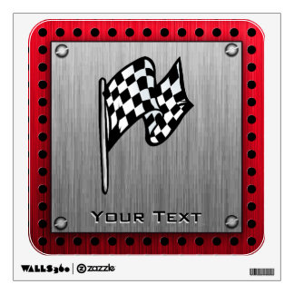 Checkered Flag; brushed aluminum look Wall Decals