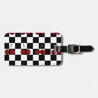 CHECKERED FLAG CHERRIES PATTERN LUGGAGE TAG