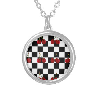 CHECKERED FLAG CHERRIES PATTERN SILVER PLATED NECKLACE