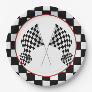 Checkered Flag Design Paper Party Plate 9 Inch Paper Plate