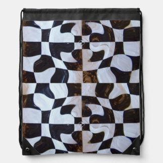 Checkered Flag Distorted Drawstring Bag