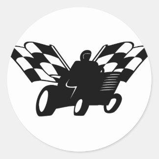 Checkered Flag Lawnmower Racer Classic Round Sticker