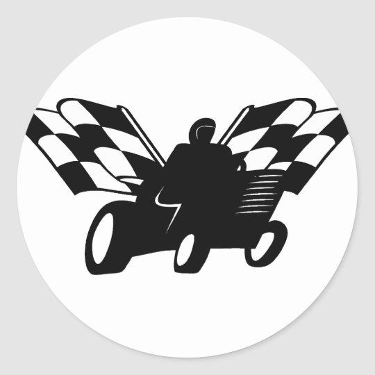 Checkered Flag Lawnmower Racer Classic Round Sticker