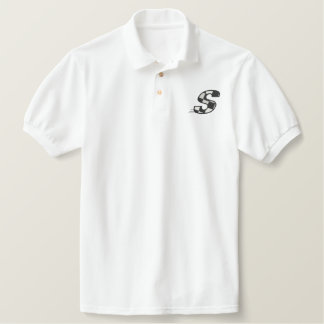 Checkered Flag Letter S Embroidered Polo Shirt