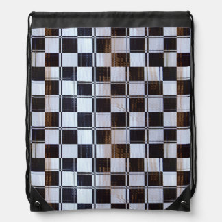 Checkered Flag Linear Drawstring Backpack