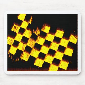 Checkered Flag on Fire Mouse Pad