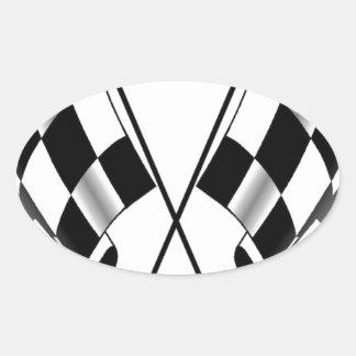 checkered flag oval sticker