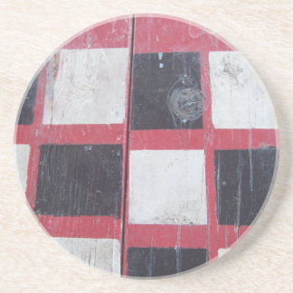 Checkered Flag Painted on Picnic Table Drink Coaster