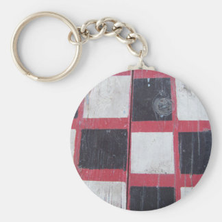 Checkered Flag Painted on Picnic Table Keychain