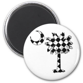 Checkered Flag Palmetto 2 Inch Round Magnet