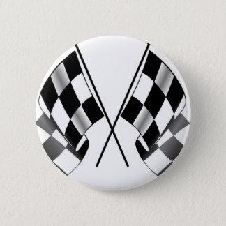 checkered flag pinback button