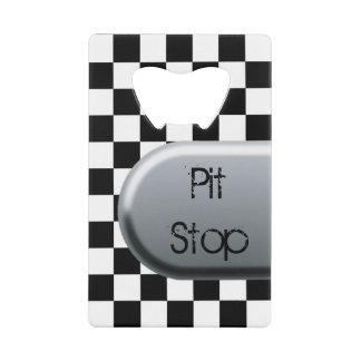 Checkered Flag Pit Stop Wallet Bottle Opener