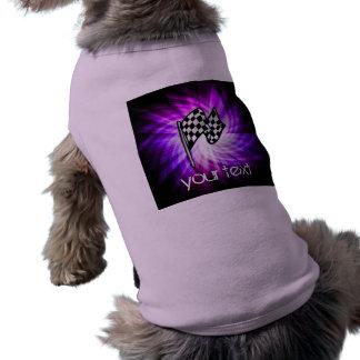 Checkered Flag; purple Dog Tee Shirt