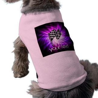 Checkered Flag purple Dog Tee Shirt