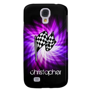 Checkered Flag; purple Galaxy S4 Cover