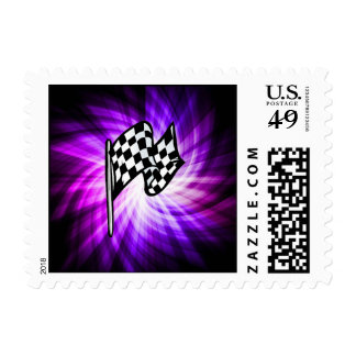 Checkered Flag; purple Postage Stamps