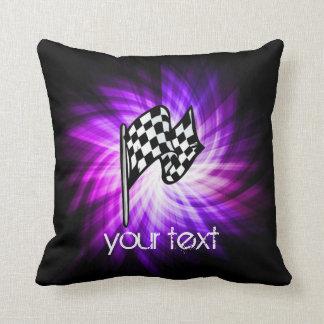 Checkered Flag; purple Throw Pillow