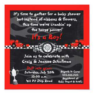 Checkered Flag Race Car Baby Shower Invitations