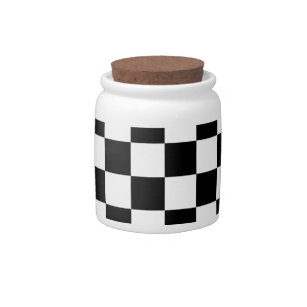 Checkered Flag Racing Design Chess Checkers Board Candy Jar