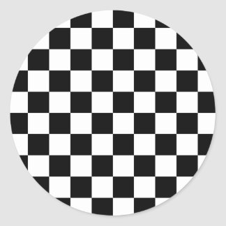 Checkered Flag Racing Pattern Classic Round Sticker