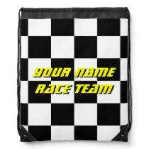 Checkered flag racing team drawstring backpack