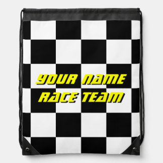 Checkered flag racing team drawstring backpack
