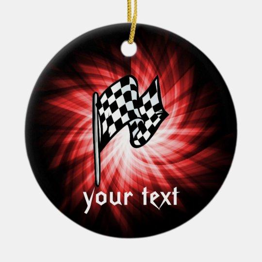 Checkered Flag; red Ceramic Ornament