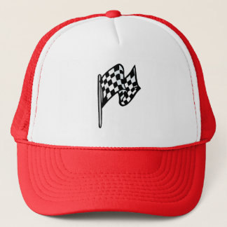 Checkered Flag; red Trucker Hat