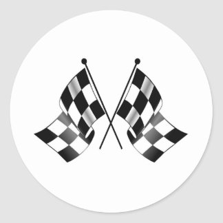 checkered flag round stickers