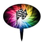 Checkered Flag Spectrum Cake Pick