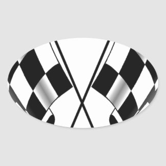 checkered flag oval sticker