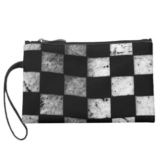 Checkered Flag Suede Wristlet