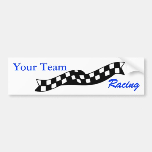 Checkered Flag Swoop Race Team Bumper Sticker