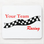 Checkered Flag Swoop Race Team Mousepad