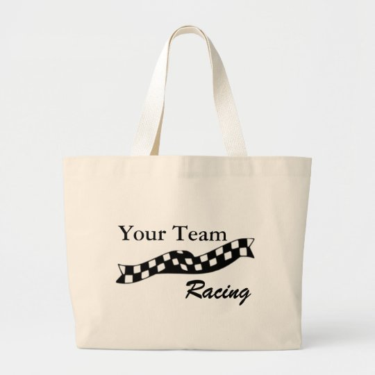 Checkered Flag Swoop Race Team Tote Bag