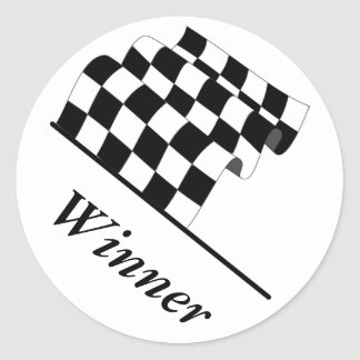 Checkered Flag Waving Race Winner Classic Round Sticker