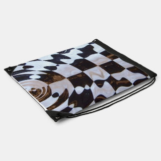 Checkered Flag with Ripple Effect Drawstring Bag
