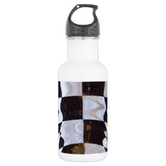 Checkered Flag with Ripple Effect Stainless Steel Water Bottle