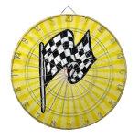Checkered Flag; yellow Dart Board