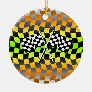 Checkered flags ceramic ornament