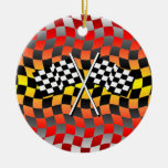 checkered flags Double-Sided ceramic round christmas ornament